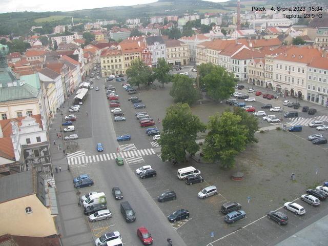 Aktuální snímek Mírového náměstí v Litoměřicích.
